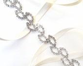 Crystal Vine Bridal Headband - Vine Headband - Satin Ribbon Tie - Silver and Crystal - Thin Wedding Dress Belt Sash - Standard Length