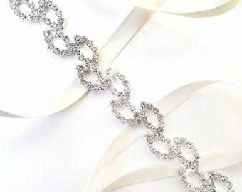 SALE! Crystal Vine Bridal Headband - Vine Headband - Satin Ribbon Tie - Silver and Crystal - Thin Wedding Dress Belt Sash - Standard Length