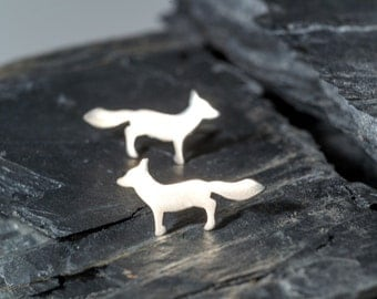 Silver Fox Earrings Fox Studs Sterling Silver Woodland Jewelry Fox Jewelry Vixen Earrings Halloween Christmas gift fall earrings dainty stud