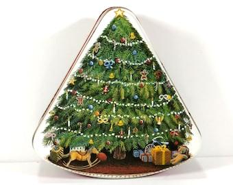 Vintage Christmas Tree Shaped Metal Tin