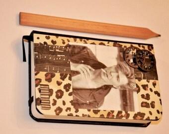 David Bowie Rock N Roll Never Dies Mixed Media Art Faux Leather Jounal