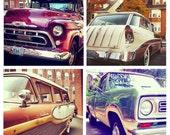 Photo Print Set 4 Square Classic Car Truck Ford Edsel Wagon Chevy Fine Art Photos