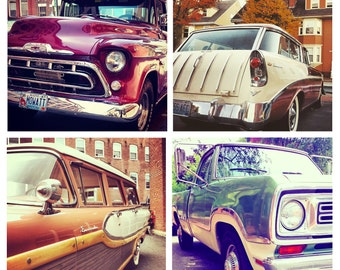 Photo Print Set 4 Square Classic Car Truck Ford Edsel Wagon Chevy Fine Art Photos