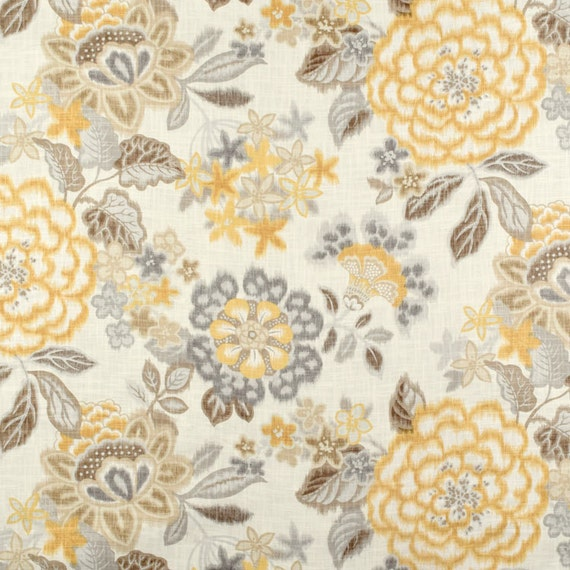 Window Curtains Gray And Yellow: Gray Yellow Window Curtains Ikat Floral Curtains Modern