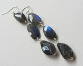 Long Three Stone Labradorite Earrings with Rose Cut Stones