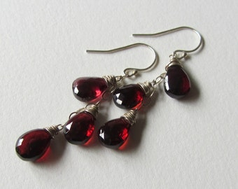 Triple Dangle Red Garnet Earrings - January Birthstone - Oxblood Wire Wrapped Wedding Earrings