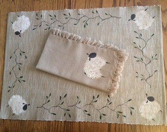 HandPainted Sheep Placemat and Napkin Set