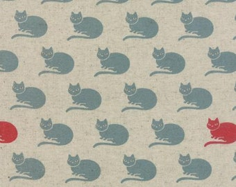 Linen Cotton Blend Neco Cats by Momo from Moda Fabrics 1/2 yard