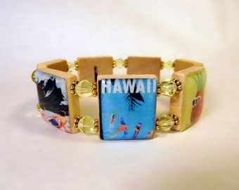 HAWAII Bracelet / SCRABBLE Handmade Jewelry / Island - Surfing - Hula Girl - Pineapple - Beaches - Vacation  / Unusual Gifts