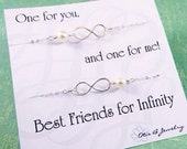 Best friends gift set, TWO Infinity necklaces, sterling silver infinity necklaces, set of two necklaces, maid of honor, pearl necklaces