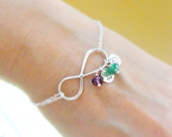 Personalized Infinity Bracelet with initials & Birthstones, Mothers bracelet, Sterling silver Initial bracelet, Silver infinity jewelry