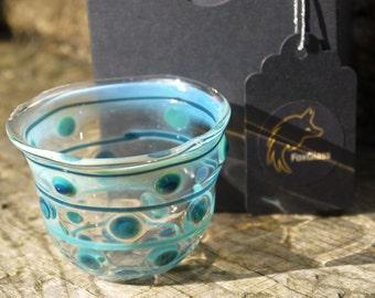 Spotty glass vessel in blue - Welsh Lampwork - Glass Decor - Whimsical vessel - Handmade Glass Tumbler