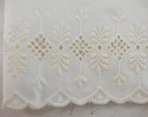 Embroidered IVORY Cotton Batiste Eyelet Border Fabric Made In USA Bedding Apparel Drapery Costume