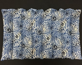Lumbar Corn Heating Pad, Corn Heating Pad, Physical Therapy, Menstrual Cramps, Massage Therapy, Get Well Gift - Indigo Blue Paisley