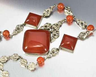 Marcasite Art Deco Necklace, Carnelian Czech Glass Necklace, Silver Flower Glass Pendant Necklace, 1930s Jewelry, Antique Jewelry,