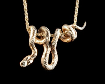 Gold Snake Necklace - 14k Gold Vine Snake Pendant - Snake Jewelry Serpent Jewelry - Snake Charm Serpent Charm - Solid 14k Gold Necklace