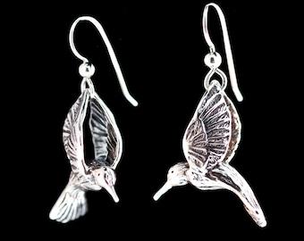 Hummingbird Earrings Silver - Large Hummingbird Earrings - Hummingbird Jewelry - Silver Hummingbird - Bird Earrings - Bird Jewelry Silver