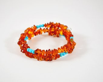 Baltic Amber and Turquoise Bracelet // READY TO SHIP