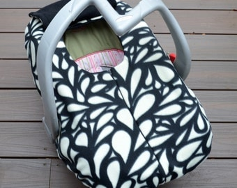 RESERVED for Mindy- Modern Baby Car Seat Cover, Geometric Loops in Black and Ivory