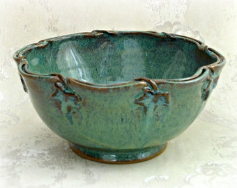 Footed Serving Bowl in Sea Mist With Decorated and Scalloped Split Rim