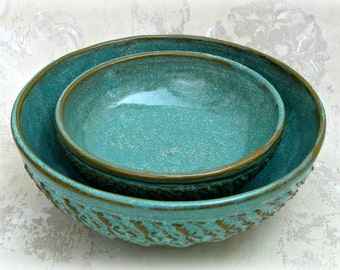 Pair Decorative Nesting  Bowls in  Speckled Aqua with Deep Texture
