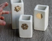 Porcelain bud vases with gold snowflakes, free same day priority shipping