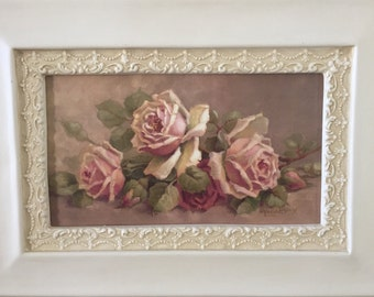 Christie Repasy Sweet Surrender Roses -  French Inspired Roses - Framed Canvas Print - Ornate Frame