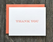SALE - 12 letterpress folded thank you cards - set of 12 - coral orange striped serif font