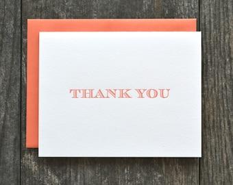 SALE - 12 letterpress folded thank you cards - set of 12 - coral orange striped serif font
