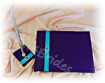 Regency Purple and Turquoise wedding guest book and pen set.