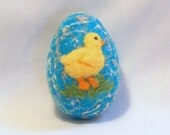 Needle Felted  Easter Egg - Chick on Turquoise Blue Egg with Silk Noils