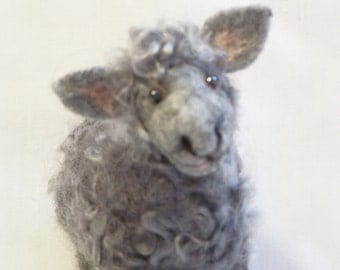 Needle Felted Animal - Sheep Lamb - Silver Grey with Curly Hair