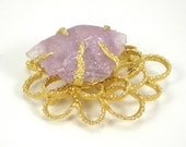 Amethyst Brooch Pin - Raw Purple Gemstone Gold Tone Metal Flower Abstract Vintage Jewelry