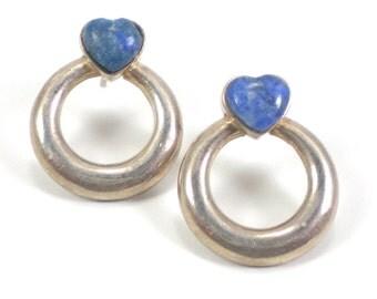 Heart Earrings - Sterling Silver Earrings - Blue Sodalite - Pierced Earrings -Vintage Jewelry - love Valentine