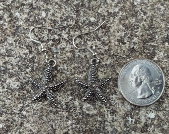 Silver Starfish Earrings - 1 Pair