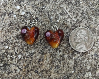 Brown Heart Murano Glass Earrings - 1 Pair