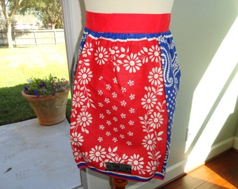 Vintage Apron Unused with Paper Tag - Red White Blue Floral Bandana Print