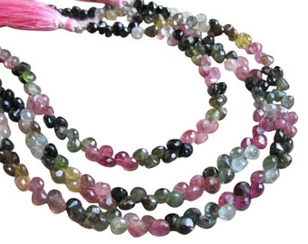 Watermelon Tourmaline Beads, Faceted Briolettes, Onion Briolette, 3.5-4mm, Multi Color Gemstone, Weddings, Brides Bridal, SKU 1516