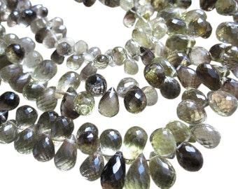 Smoky Lemon Quartz Beads Briolettes, Bicolor Quartz, Faceted Teardrops, 6mm x 9mm, Loveofjewelry, SKU 858
