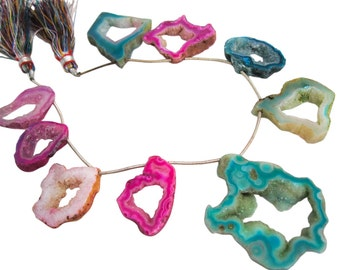 Druzy Quartz Beads, Drusy Quartz Beads, Multi Color Druzy Drusy Slices, Violet, Teal, Druzy, Multi Color Druzy, SKU 4881