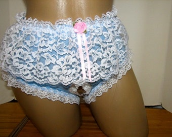 Pretty Sky Blue Full Bikini with Pretty White Skirt Open Crotch / Crotchless and Size L Transgender TG VTG