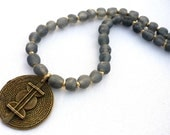 African recycled glass grey bead necklace * Ethiopian brass necklace * tribal jewelry