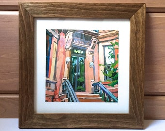 Portico Brooklyn Brownstone Door Art Print. Park Slope. Framed Rustic Square Print Ready to Hang Brooklyn NYC Print, by Gwen Meyerson