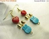 Owl love you forever ... new vintage stock turquoise owl earrings with gold bows and red glass hearts