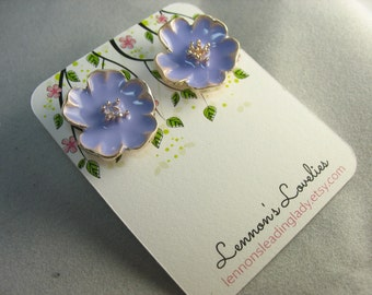 purple enamel flower studs