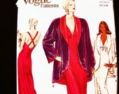 Vogue Easy Nightgown Pattern Misses size 6 8 10 12 14 UNCUT Glamorous back Cross Straps V Neck Long Sexy Nightgown, Bed Jacket Pattern