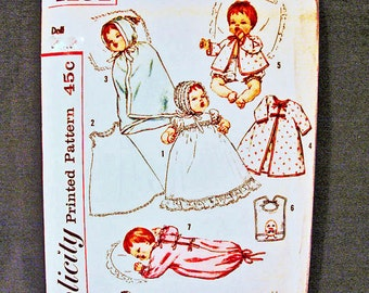 1950s Baby Doll Clothes Pattern Simplicity size 12 inch Doll Pattern Baby Doll Layette Vintage Sewing Pattern