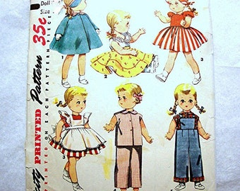 Simplicity 1950s Doll Clothes Pattern fits 16 inch Dolls such as Saucy Walker Doll and others