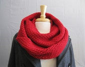 Red Merino Cowl, Long Red Scarf, Pure Merino Wool Circle Scarf for Women