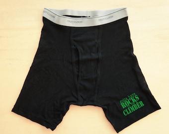 Rock Climbing Boxers, Men's Boxer Briefs, Funny Boxers, Climber Underwear, Men's Shorts, Rock Climber Boxers, Rock Climbing Underwear
